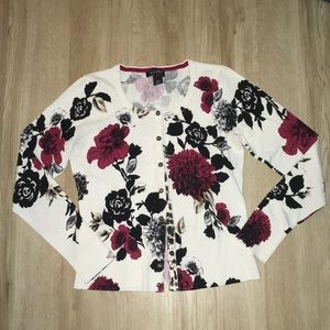White House Black Market Floral Printed Cardigan